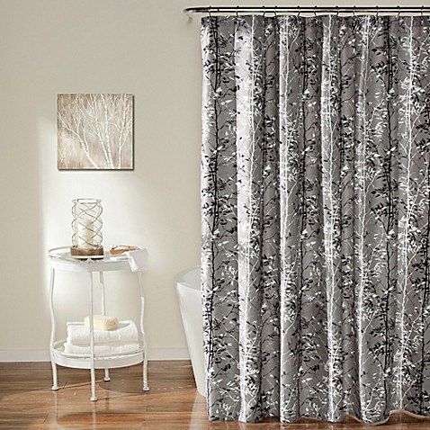 Forest Shower Curtain In Grey Black