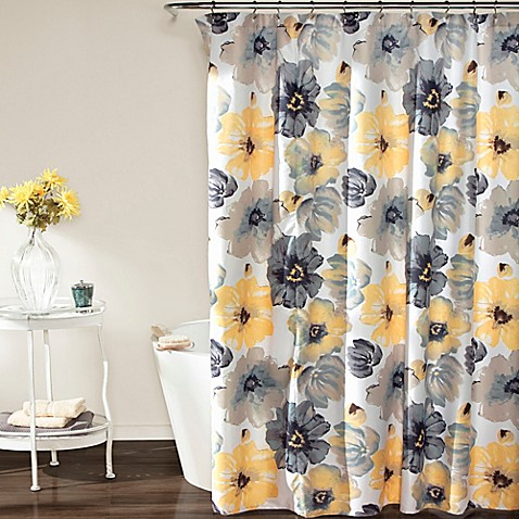 Leah Shower Curtain In Yellow Grey Bed Bath Amp Beyond