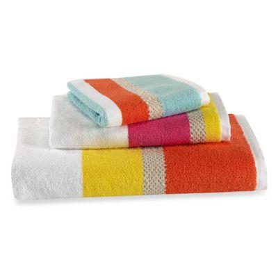 kate spade new york Paintball Floral Stripe Bath Towel Bed Bath