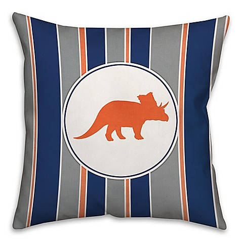 Bed Bath And Beyond Orange Throw Pillows : Triceratops Square Throw Pillow in Orange/Navy - Bed Bath & Beyond