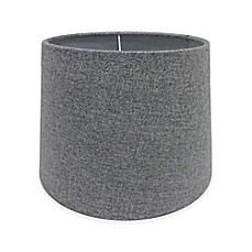 Image Of AdessoR Paris 10 Inch Fabric Drum Lamp Shade In Light Grey