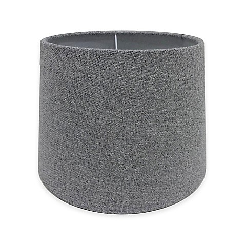 adesso paris 10 inch fabric drum lamp shade in light grey. Black Bedroom Furniture Sets. Home Design Ideas