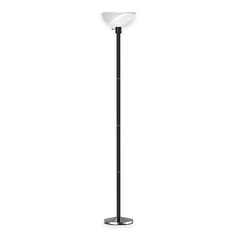Adesso 174 Anderson Torchiere Floor Lamp In Black Wood Grain Bed Bath Amp Beyond