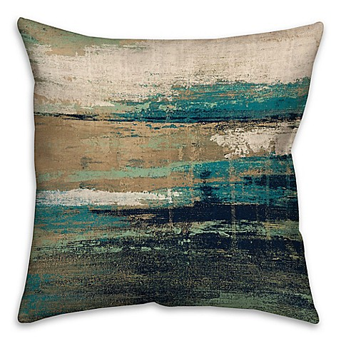 Bed Bath And Beyond Blue Throw Pillows : Abstract Square Throw Pillow in Blue/Brown - Bed Bath & Beyond