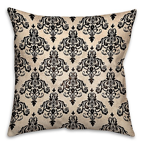 Black Throw Pillows For Bed : Damask Square Throw Pillow in Black/White - Bed Bath & Beyond