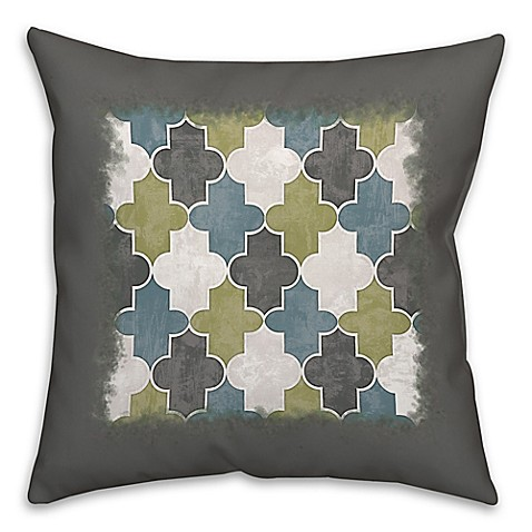 Throw Pillow Trends : Geo Trend 16-Inch Square Throw Pillow in Green/Grey - Bed Bath & Beyond
