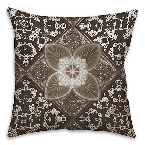 Taupe Tiles Throw Pillows in Brown - Bed Bath & Beyond