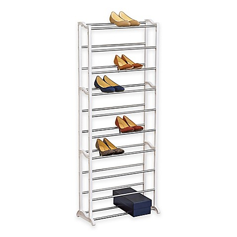 buy 30 pair white shoe rack from bed bath beyond