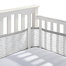 image of BreathableBaby® Breathable Mesh  Chevron Crib Liner in Grey