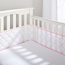 image of BreathableBaby® Ultra Luxe Mesh Crib Liner in White/Pink