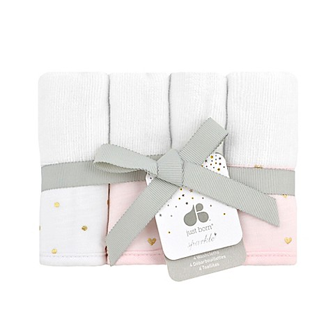 Just Born Sparkle Washcloths 4-Pack in Pink