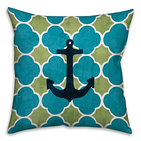 Anchor and Quatrefoil Throw Pillow in Blue/Green - Bed Bath & Beyond