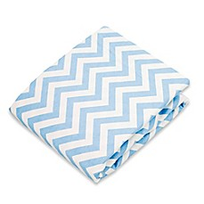 image of kushies® Flannel Portable Play Pen Fitted Sheet in Chevron Blue