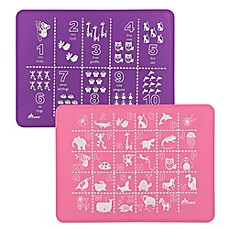 image of Brinware ABC & 123 Silicone Placemat Set in Pink/Purple (Set of 2)