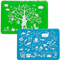 image of Brinware Land & Sea Silicone Placemat Set in Blue/Green (Set of 2)