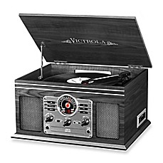 image of Victrola™ Wooden 6-in-1 Nostalgic Record Player with Bluetooth and 3 Speed Turntable in Graphite