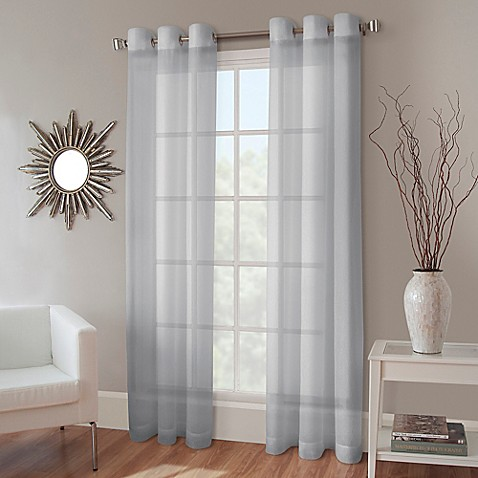 Crushed Voile Grommet Top Sheer Window Curtain Panel Bed