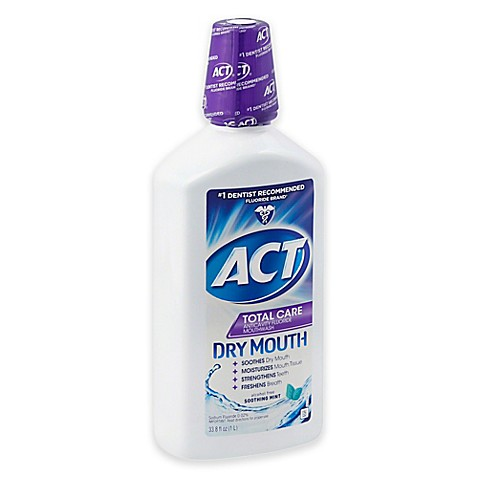 Act Mouthwash Dry Mouth >> ACT® 33.8 oz. Total Care Dry Mouth Anticavity Mouthwash in Mint - Bed Bath & Beyond