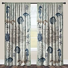 image of Laural Home® Seaside Postcard Rod Pocket Sheer Window Curtain Panel