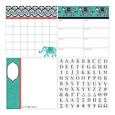 image of WallPops!® Dry-Erase 3-Piece Indra Monogram Calendar/Planner/Notes Board Set in Teal/Coral