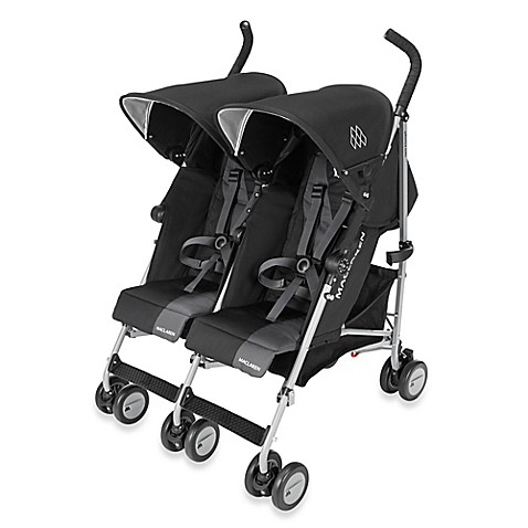 maclaren twin triumph double stroller in black charcoal. Black Bedroom Furniture Sets. Home Design Ideas