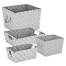 Image Of Woven Storage Tote In Light Grey