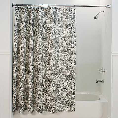 Buy Victoria Park Toile Shower Curtain In Black From Bed Bath Beyond