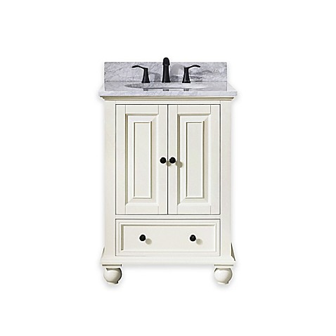 Buy Avanity Thompson 25 Inch Single Vanity With Carrera Marble Top In French White From Bed Bath