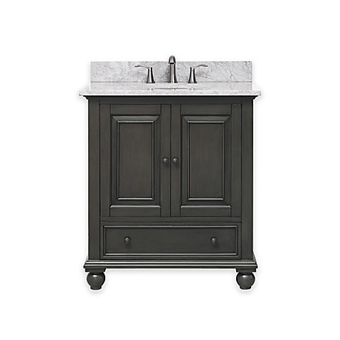 buy avanity thompson 31 inch single vanity with carrera marble top in charcoal white from bed. Black Bedroom Furniture Sets. Home Design Ideas