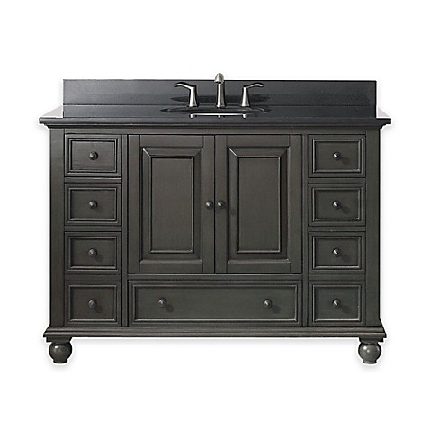 buy avanity thompson 49 inch single vanity with marble top in charcoal glaze black from bed bath. Black Bedroom Furniture Sets. Home Design Ideas