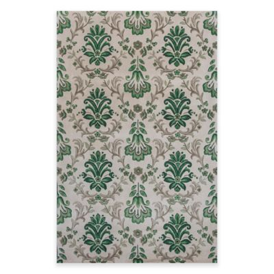image of KAS Emerald Damask Area Rug in Ivory/Green