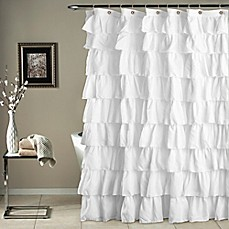 Shower curtains shower curtain tracks bed bath beyond ruffle shower curtain in white gumiabroncs Images