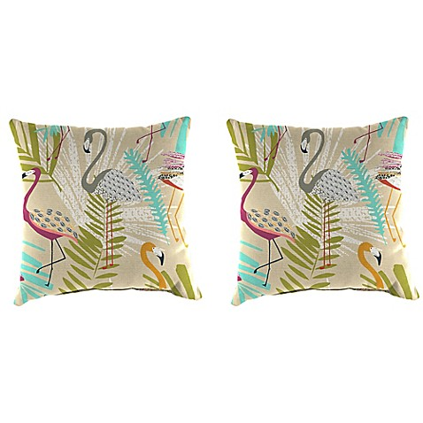 Outdoor 18-Inch Square Throw Pillows in Flamingos Spring (Set of 2) - Bed Bath & Beyond
