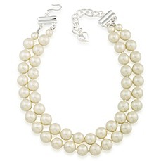 image of Carolee New York Abigail Two Row 12mm White Pearl Choker Necklace with Silvertone Clasp
