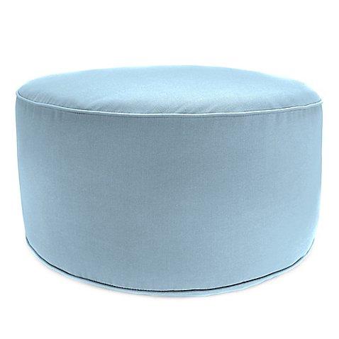 outdoor round pouf ottoman in sunbrella canvas air blue. Black Bedroom Furniture Sets. Home Design Ideas