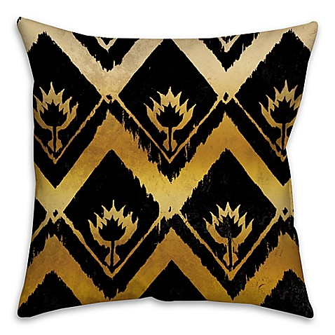 ikat square throw pillow in black gold bed bath beyond. Black Bedroom Furniture Sets. Home Design Ideas