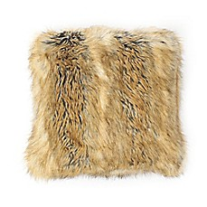 image of Wild Mannered Luxury Faux-Fur Square Throw Pillow in Amber Fox