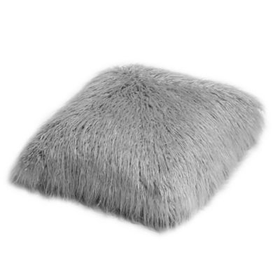 Buy Decorinnovation18-Inch Mongolian Lamb Faux-Fur Square Throw Pillow in Grey from Bed Bath ...