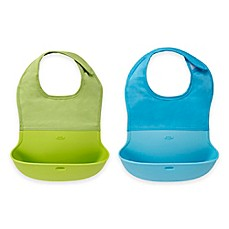 image of OXO Tot® 2-Pack Roll Up Bibs in Aqua/Green