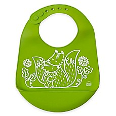 image of Modern Twist Foxes Silicone Bib in Green