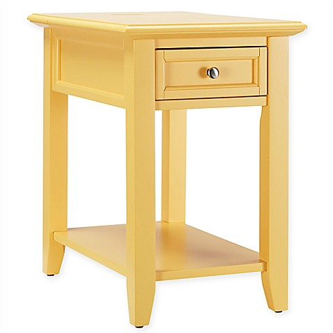 buy verona home darbey hidden outlet accent table in yellow from bed bath beyond. Black Bedroom Furniture Sets. Home Design Ideas