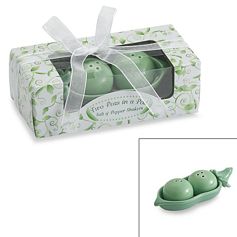 Kate aspen two peas in a pod ceramic salt pepper shakers in ivy gift box bed bath beyond - Two peas in a pod salt and pepper shakers ...