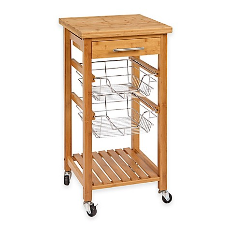 Bamboo Rolling Kitchen Cart With Storage Bed Bath Amp Beyond