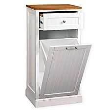 Image Of Microwave Kitchen Cart With Hideaway Trash Can Holder In White