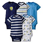 image of Gerber® ONESIES® 5-Pack Lion Short Sleeve Bodysuits in Blue/Navy