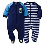 image of Gerber® 2-Pack Lion Zip-Front Footies in Blue/Grey