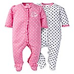 image of Gerber® 2-Pack Elephant Zip-Front Footies in Pink/White