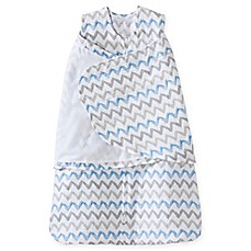 image of HALO® SleepSack® Chevron Muslin Adjustable Swaddle in Blue/Grey