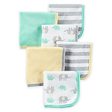 image of carter's® 6-Pack Elephant Washcloths in Yellow/Grey