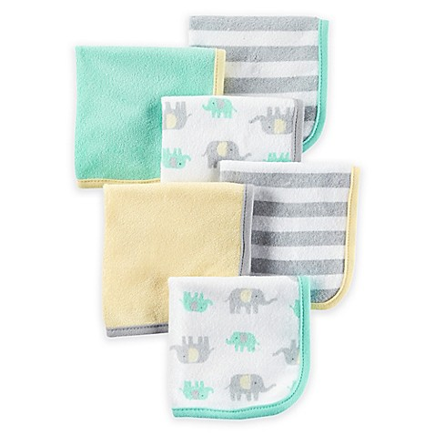 Carter S 174 6 Pack Elephant Washcloths In Yellow Grey